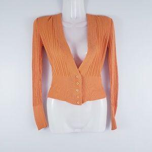 Piazza Sempione Orange Ribbed Button Up Cardigan